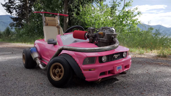 barbie mustang with turbocharged dirt bike engine