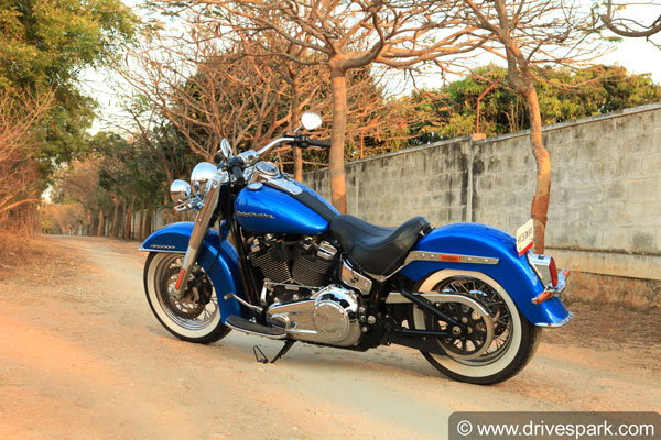 harley davidson softail deluxe rear three quarter profile