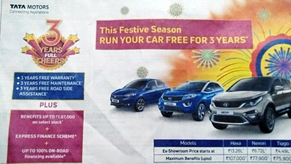 Tata Nexon, Hexa, Tiago, Tigor available with 3 Years/ 40,000Kms Free Monsoon Maintenance Offer