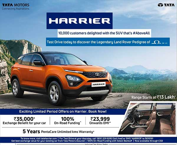 Tata Harrier Extended Warranty Introduced: New 'Pentacare' Package Offers 5-Year/Unlimited Kilometres