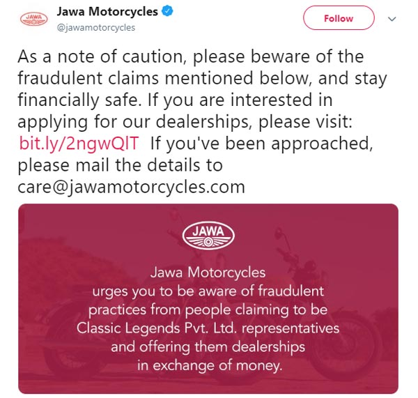 Jawa Motorcycles Dealership Scam: Jawa Cautions Enthusiasts Against Fraudsters