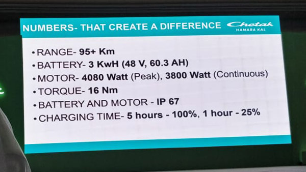 Bajaj Chetak Electric Scooter Technical Specs