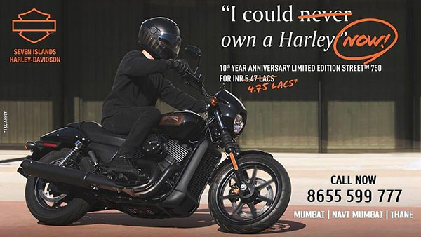 Harley Davidson Street 750 Limited Edition Offer: Rs 72,000 Discount On BS6 Model