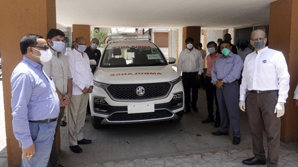 MG Hector Modified Into Ambulance Donated To Vadodara Healthcare Authorities To Support Fight Against COVID-19