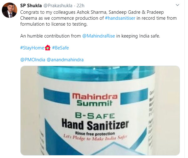 Mahindra Producing Hand Sanitizers To Fight COVID-19 Pandemic