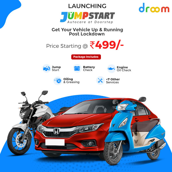 Droom Jumpstart Doorstep Vehicle Service Announced For Bikes, Scooters & Cars