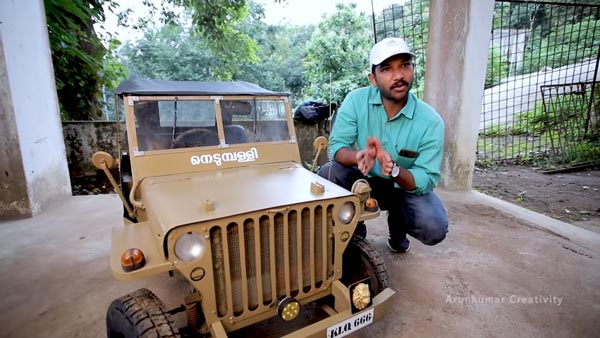 Jeep Willys Miniature Working Model Built In Kerala For A 10-Year Old Boy: Watch The Video Here!