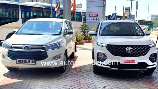 Spy Pics: MG Hector Plus Spied Testing Ahead Of India Launch Soon, Spied Next To The Toyota Innova Crysta