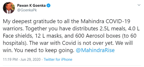 Mahindra Distributes Over 16 Lakh Face Masks, Shields & Meals In Last 3 Months To Support The Fight Against Coronavirus In India