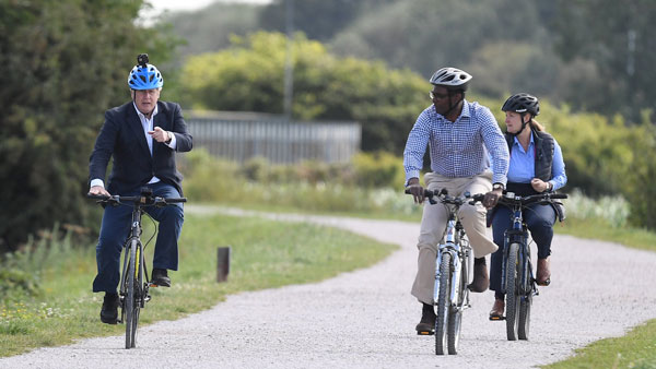 British PM Boris Johnson Rides Hero Bicycle At Launch Of UK's Cycling & Walking Initiative