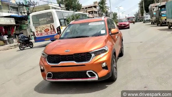 Kia Sonet Spotted For The First Time Post It's World Premiere: Pics & Details