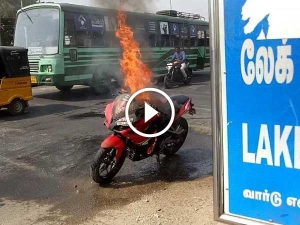 Bajaj Pulsar RS 200 Engulfed In Flames In the Middle Of Road