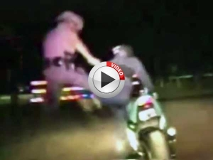 Video: Cop Superkicks Biker After Pursuit!