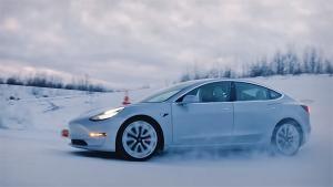 Tesla Model 3 Drifts In The Snow — Tesla Track Mode