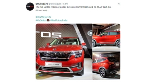 Kia Seltos Gets Twitter Hashflag On Launch Day
