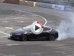 Tesla Showcases Future Drift With Loads Of Smoke & No Noise
