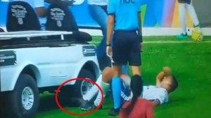 Football Video Becomes Viral After A Medical Kart Runs Over An Injured Player's Leg