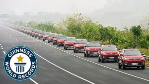 55 Vehicle Convoy Claims Guinness World Record For Largest Parade Of Autonomous Cars