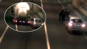 Truck Almost Runs Over Four People Taking Selfies In Russian Tunnel