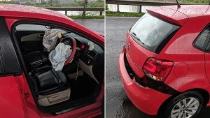 VW Polo Gets Damaged & Airbags Deploy After Hitting Huge Pothole — Who's To Blame?