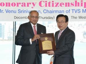 TVS Chairman Venu Srinivasan Made Honorary Citizen of Busan