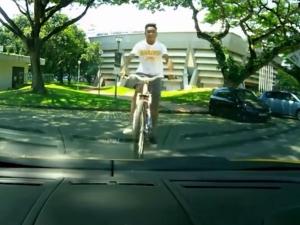 Lamborghini Gallardo Used As Bicycle Ramp By Kid in Singapore