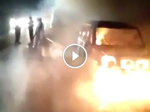 Woman Burnt Alive After Mahindra Scorpio Catches Fire; Husband Survives