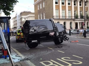 Brabus G500 4x4² Rolls Over After Colliding With Toyota Prius
