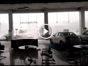Video: Thunderstorm Almost Destroys Maruti Suzuki Showroom In Raipur