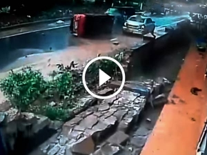 Video: WagonR Crashes Into Concrete Wall And Swift Dzire; Occupants Safe