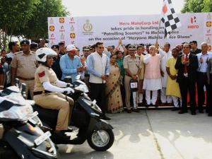 Hero MotoCorp Presents 100 Duet Scooters To Women Police In Haryana
