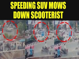 Speeding Mahindra XUV 500 Topples After Ramming Into Scooter, Killing The Scooter Rider