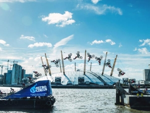 Daredevil Travis Pastrana Pulls Off World's First Barge-To-Barge Backflip Over The River Thames
