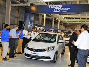 Tata Tigor Electric Vehicle (EV) Rolls Out From Sanand Plant