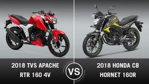 2018 Honda CB Hornet 160R Vs 2018 TVS Apache RTR 160 4V Comparison: Specs, Price, Mileage & Features