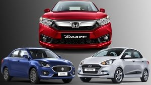 Honda Amaze 2018 Vs Maruti Dzire Vs Hyundai Xcent — Design, Specs, Features, Mileage & Price