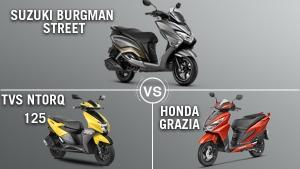 Suzuki Burgman Street Vs TVS Ntorq 125 Vs Honda Grazia Comparison: Design, Specs, Features And Price