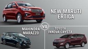 Maruti Ertiga 2018 Vs Mahindra Marazzo Vs Toyota Innova Crysta: Which Is The Best MPV?