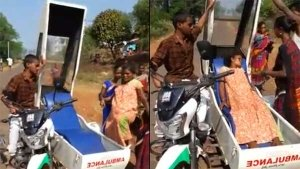 Bajaj V15 Two-Wheeler Ambulance Ferries Victims To Hospital In Rural Andhra Pradesh