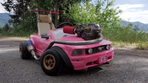 Toy Barbie Mustang With A Turbocharged Dirt Bike Engine Is Absolutely Bonkers [Video]