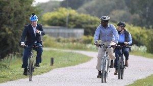 British PM Boris Johnson Rides Hero Bicycle At Launch Of UK's Cycling & Walking Initiative