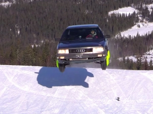 Audi 200 Turbo Drifts & Jumps On Snow In Like Its The End Of The Earth